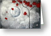 Red Birds Greeting Cards - Far Side of the Moon by MADART Greeting Card by Megan Duncanson
