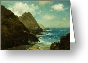 Sand Beaches Greeting Cards - Farallon Islands Greeting Card by Albert Bierstadt