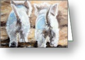 Westie Greeting Cards - Farewell Greeting Card by Mary Sparrow Smith