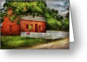 Red Building Greeting Cards - Farm - Barn - A small farm house  Greeting Card by Mike Savad