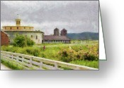 Gray Sky Greeting Cards - Farm - Barn - Farming is hard work Greeting Card by Mike Savad
