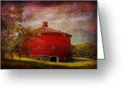 Round Barn Greeting Cards - Farm - Barn - Red round barn  Greeting Card by Mike Savad
