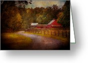 Autumn Scenes Greeting Cards - Farm - Barn - Rural Journeys  Greeting Card by Mike Savad