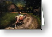 Got Greeting Cards - Farm - Cow - Going to milk Mabel Greeting Card by Mike Savad