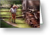 Portriat Greeting Cards - Farm - Farmer - Chores Greeting Card by Mike Savad