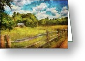 Nice Day Greeting Cards - Farm - Fence - Its so peaceful in the country Greeting Card by Mike Savad