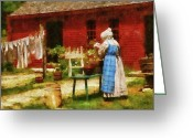 Old Lady Greeting Cards - Farm - Laundry - Washing Clothes Greeting Card by Mike Savad