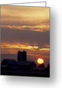 Barn Greeting Cards - Farm at sunset Greeting Card by Steve Somerville