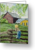 Split-rail Fence Greeting Cards - Farm Boy Greeting Card by Charlotte Blanchard