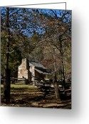 Rail Fence Greeting Cards - Farm Cabin Cades Cove Tennessee Greeting Card by Douglas Barnett