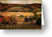 Country Framed Print Greeting Cards - Farm Country Autumn - Sheldon NY Greeting Card by Lianne Schneider