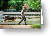 Got Greeting Cards - Farm - Cow -The farmer and the dell  Greeting Card by Mike Savad