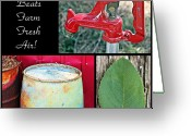 Rain Barrel Photo Greeting Cards - Farm Fresh Air- Fine Art Greeting Card by KayeCee Spain