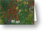 1918 Greeting Cards - Farm Garden with Flowers Greeting Card by Gustav Klimt