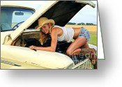 Cowgirl Prints Greeting Cards - Farm Girl Greeting Card by Gib Martinez