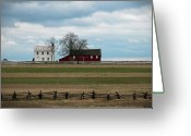 Split Rail Fence Greeting Cards - Farm House and Barn Greeting Card by David Arment