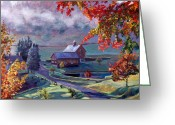Impressionist Greeting Cards - Farm In The Dell Greeting Card by David Lloyd Glover