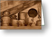 Crocks Photo Greeting Cards - Farm Primitives Sepia Tone Greeting Card by Carmen Del Valle