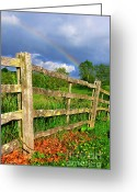 Wooden Fence Greeting Cards - Farm Rainbow Greeting Card by Thomas R Fletcher