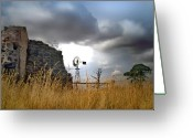 Stormy Skies Greeting Cards - Farm ruins Greeting Card by Robert Lacy
