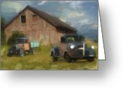 Green Pasture Greeting Cards - Farm Scene Greeting Card by Jack Zulli