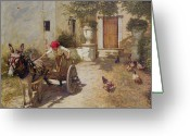 Cart Greeting Cards - Farm Yard Scene Greeting Card by Henry Herbert La Thangue