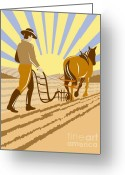 Farm Digital Art Greeting Cards - Farmer and Horse plowing Greeting Card by Aloysius Patrimonio