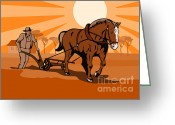 Farm Digital Art Greeting Cards - Farmer and Horse Plowing Farm Retro Greeting Card by Aloysius Patrimonio