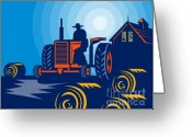 Farmhouse Greeting Cards - Farmer driving vintage tractor Greeting Card by Aloysius Patrimonio