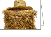 Feed Greeting Cards - Farmer Hat on Hay Bale Greeting Card by Olivier Le Queinec