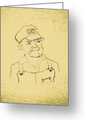 Overalls Greeting Cards - Farmer in CAT Hat Greeting Card by Sheri Parris