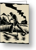 Scythe Greeting Cards - Farmer with scythe Greeting Card by Aloysius Patrimonio