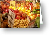 Stores Greeting Cards - Farmers Market Greeting Card by Karen Wiles