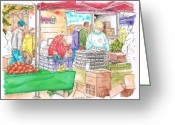 Los Angeles Painting Greeting Cards - Farmers-market-oxnard Greeting Card by Carlos G Groppa