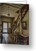 Wood Plank Flooring Greeting Cards - Farmhouse Entry Hall and Stairs Greeting Card by Lynn Palmer
