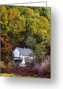 Wild Rivers Greeting Cards - Farmhouse in Fall Greeting Card by Debra and Dave Vanderlaan