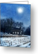Cornfield Greeting Cards - Farmhouse Under Full Moon in Winter Greeting Card by Jill Battaglia