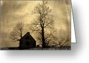 Secretive Greeting Cards - Farmhouse. vintage-look Auvergne. France Greeting Card by Bernard Jaubert
