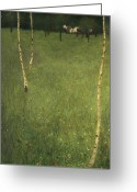 Expressionist Greeting Cards - Farmhouse with Birch Trees Greeting Card by Gustav Klimt