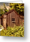 Horse And Buggy Greeting Cards - Farming Shed Greeting Card by Lourry Legarde