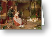 Standing Painting Greeting Cards - Farmyard Scene Greeting Card by Jan David Cole