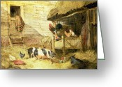 Hen Greeting Cards - Farmyard Scene Greeting Card by John Frederick Herring Snr
