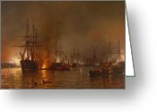 25th Greeting Cards - Farraguts Fleet Passing the Forts Below New Orleans Greeting Card by MFH De Haas