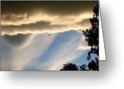 Sundown Greeting Cards - Fascinating Clouds And A 737 Greeting Card by Will Borden