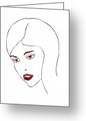 Girls Drawings Greeting Cards - Fashion Model Greeting Card by Frank Tschakert