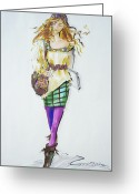 Mini Drawings Greeting Cards - Fashion on the Run Greeting Card by Gloria  Nilsson