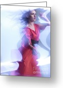 Red Dress Greeting Cards - Fashion Photo of a Woman in Shining Blue Settings Wearing a Red  Greeting Card by Oleksiy Maksymenko