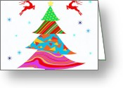 Present Card Greeting Cards - Fashion Xmas Greeting Card by Atiketta Sangasaeng