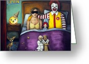 Jack-in-the-box Greeting Cards - Fast Food Nightmare Greeting Card by Leah Saulnier The Painting Maniac