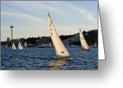 Sailing Fast Greeting Cards - Fast Light Sails Greeting Card by Tom Dowd